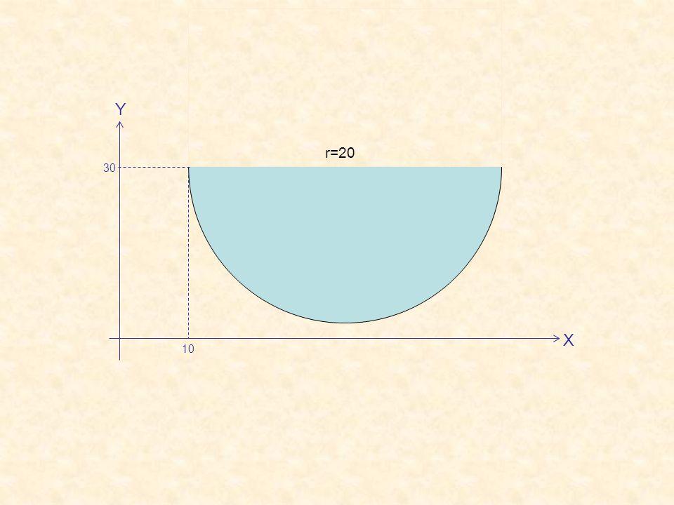 X Y 10 30 r=20