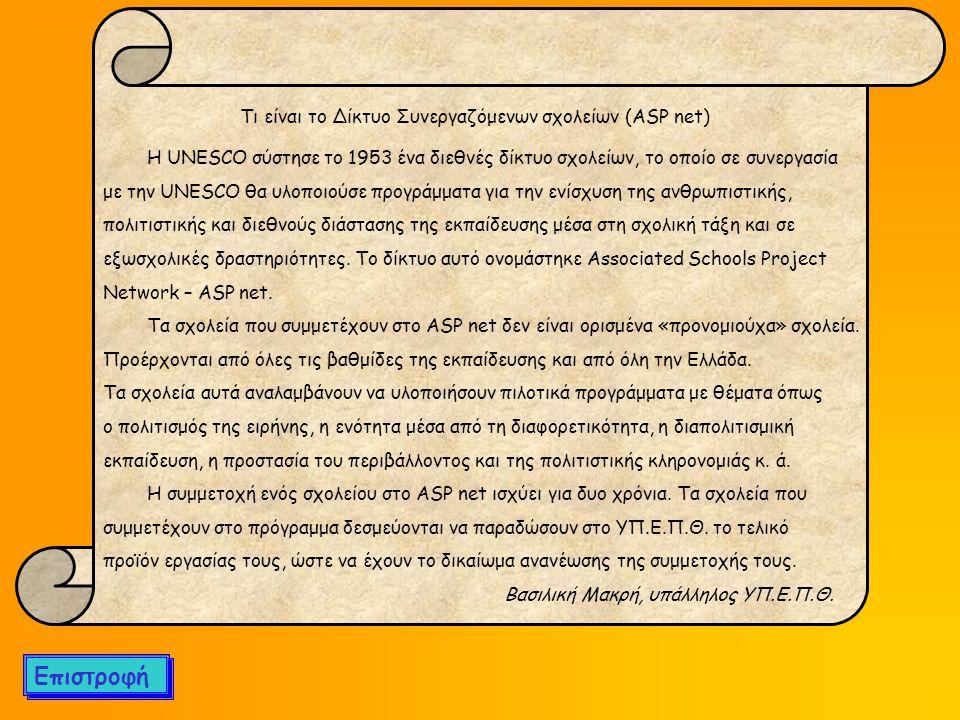 Επιστροφή Τι είναι το Δίκτυο Συνεργαζόμενων σχολείων (ASP net)