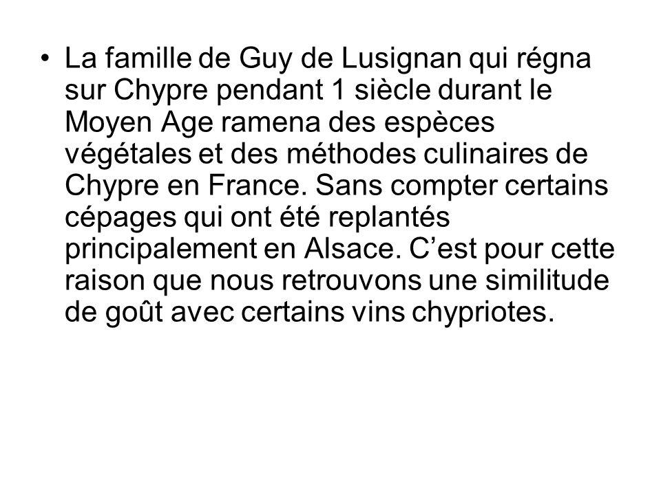 La famille de Guy de Lusignan qui régna sur Chypre pendant 1 siècle durant le Moyen Age ramena des espèces végétales et des méthodes culinaires de Chypre en France.