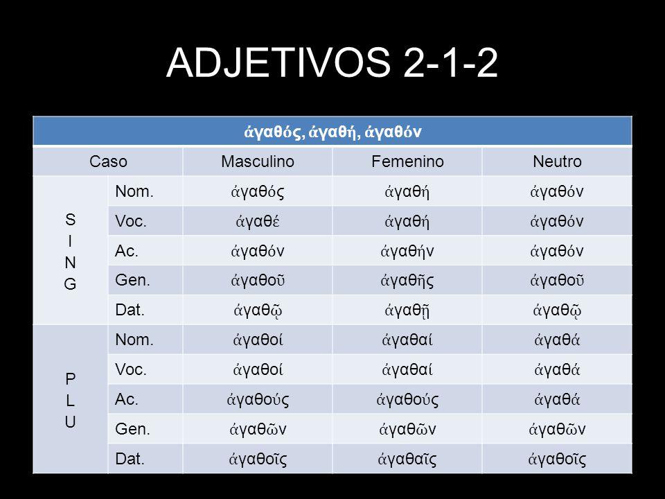 ADJETIVOS 2-1-2 ἀγαθός, ἀγαθή, ἀγαθόν Caso Masculino Femenino Neutro