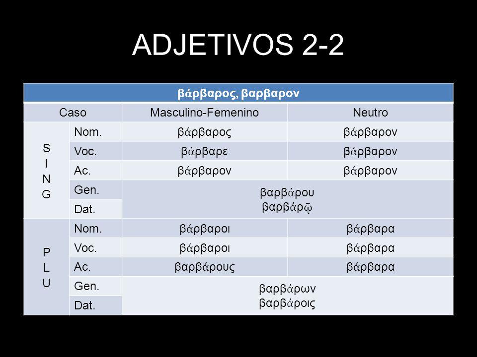 ADJETIVOS 2-2 βάρβαρος, βαρβαρον Caso Masculino-Femenino Neutro SING