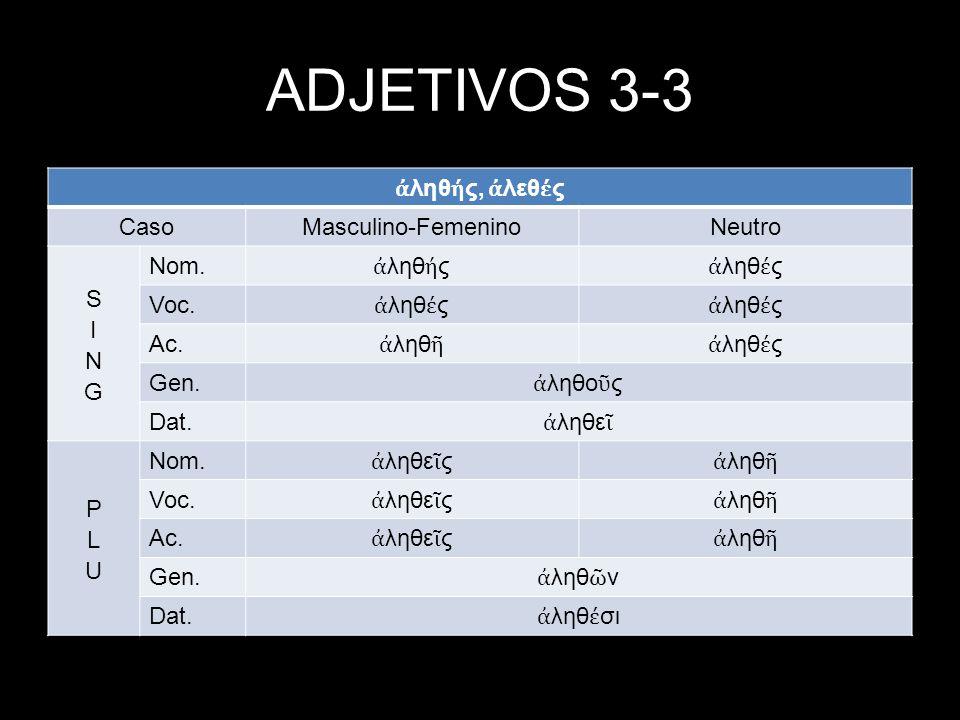 ADJETIVOS 3-3 ἀληθής, ἀλεθές Caso Masculino-Femenino Neutro SING Nom.