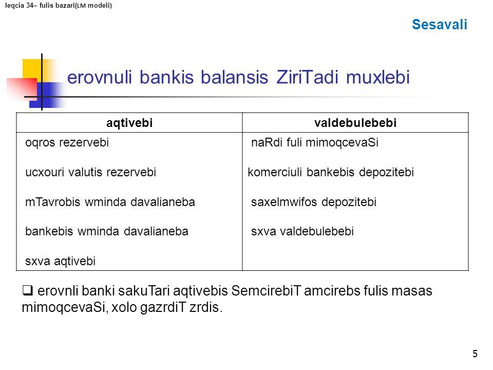 erovnuli bankis balansis ZiriTadi muxlebi
