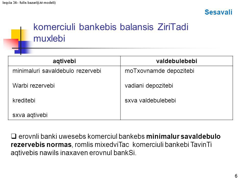 komerciuli bankebis balansis ZiriTadi muxlebi