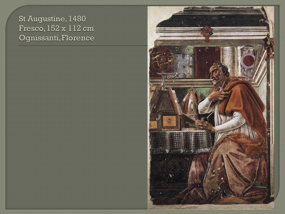 St Augustine, 1480 Fresco, 152 x 112 cm Ognissanti, Florence