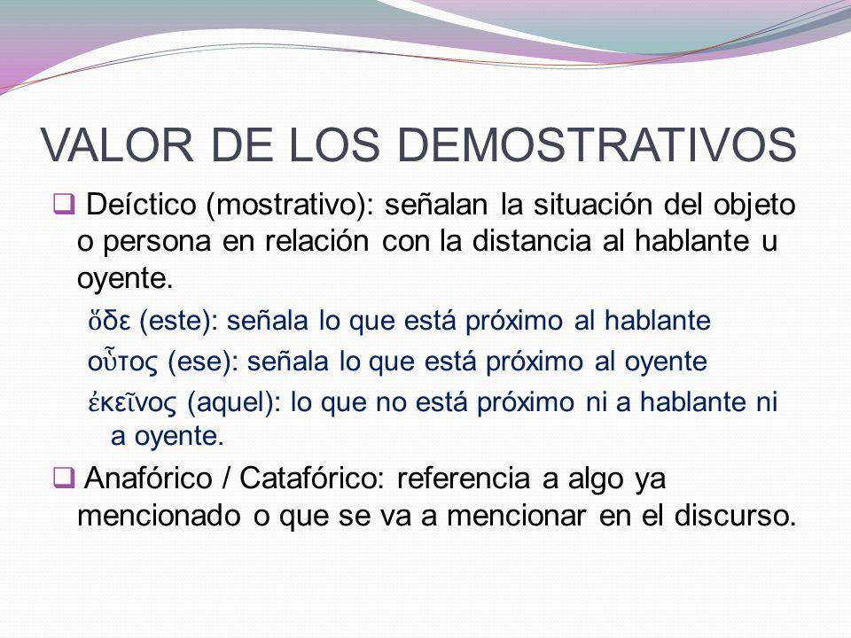 VALOR DE LOS DEMOSTRATIVOS