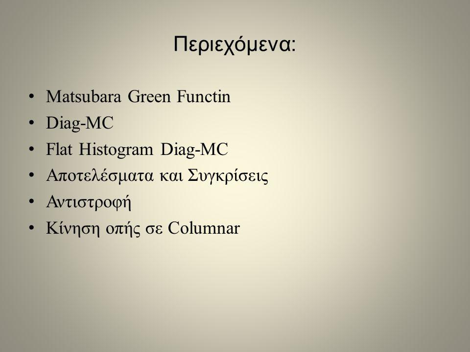 Περιεχόμενα: Matsubara Green Functin Diag-MC Flat Histogram Diag-MC