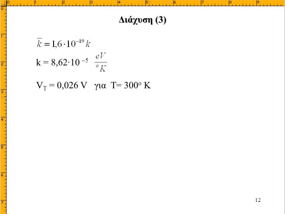 Διάχυση (3) k = 8,62·10 –5 VT = 0,026 V για T= 300ο K