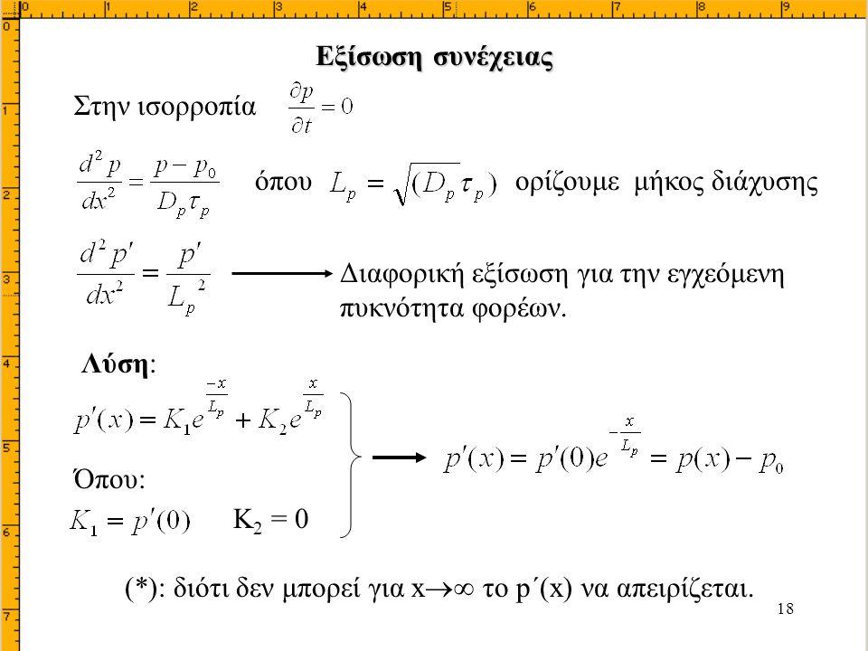 Εξίσωση συνέχειας Στην ισορροπία. όπου ορίζουμε μήκος διάχυσης. Διαφορική εξίσωση για την εγχεόμενη πυκνότητα φορέων.