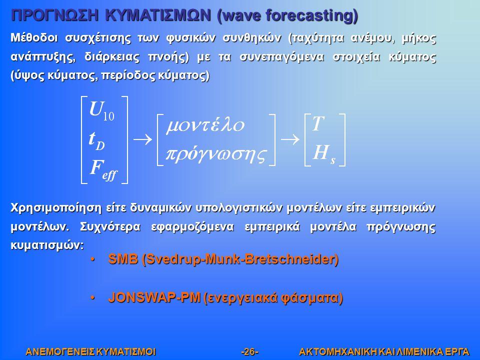 ΠΡΟΓΝΩΣΗ ΚΥΜΑΤΙΣΜΩΝ (wave forecasting)