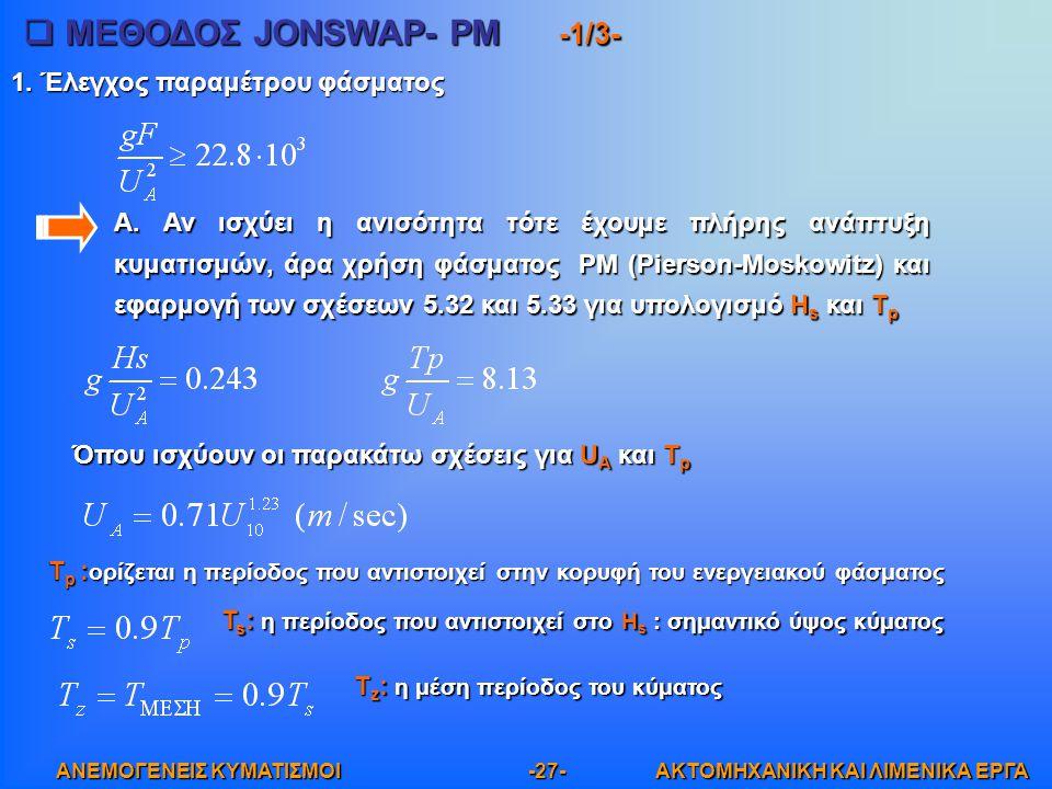 ΜΕΘΟΔΟΣ JONSWAP- PM -1/3-