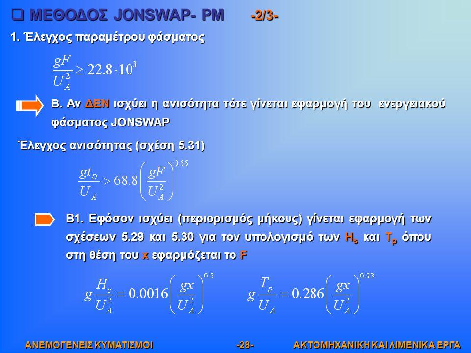 ΜΕΘΟΔΟΣ JONSWAP- PM -2/3-