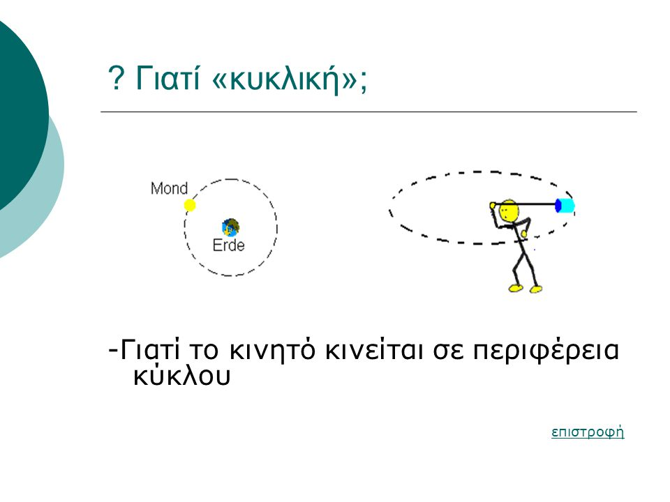 Γιατί «κυκλική»; -Γιατί το κινητό κινείται σε περιφέρεια κύκλου