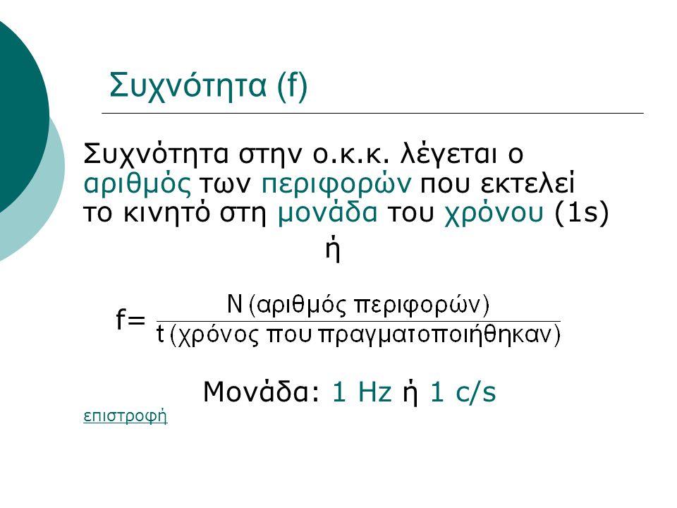 Συχνότητα (f) Συχνότητα στην ο.κ.κ. λέγεται ο αριθμός των περιφορών που εκτελεί το κινητό στη μονάδα του χρόνου (1s)