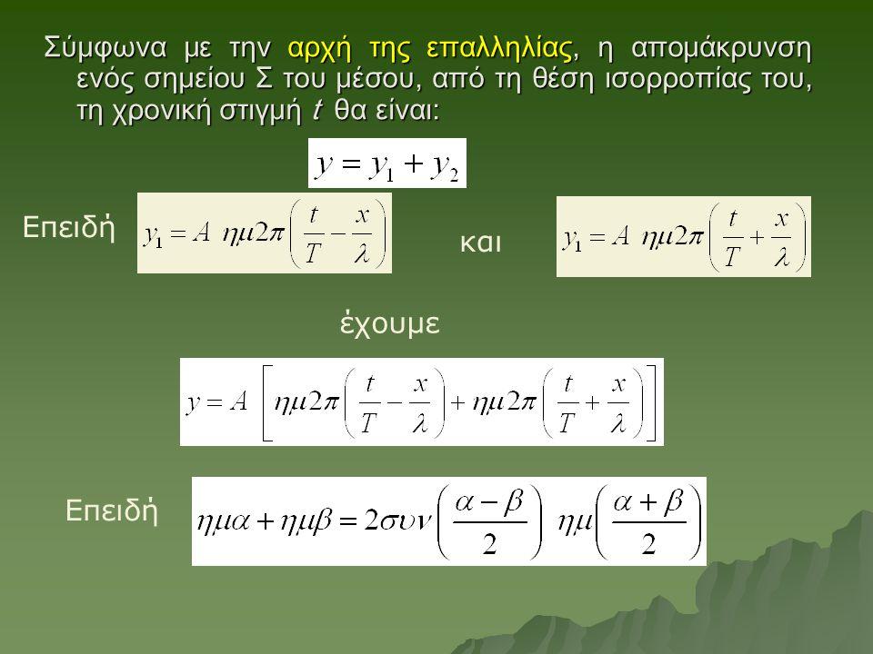 Σύμφωνα με την αρχή της επαλληλίας, η απομάκρυνση ενός σημείου Σ του μέσου, από τη θέση ισορροπίας του, τη χρονική στιγμή t θα είναι: