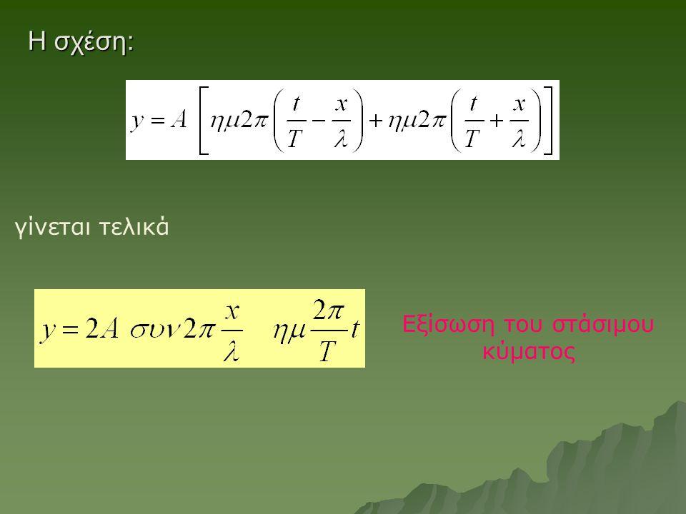 Εξίσωση του στάσιμου κύματος