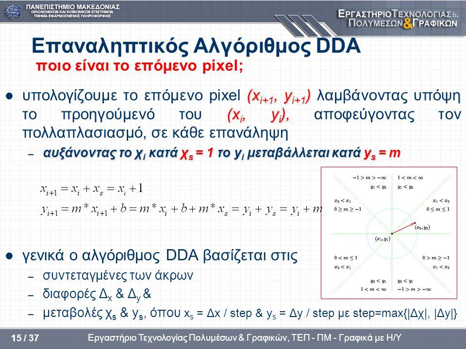Επαναληπτικός Αλγόριθμος DDA ποιο είναι το επόμενο pixel;