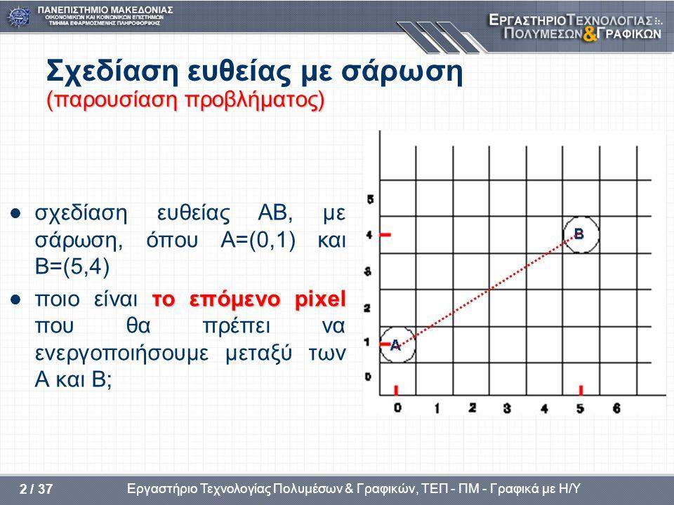 Σχεδίαση ευθείας με σάρωση (παρουσίαση προβλήματος)