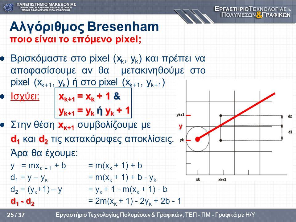 Αλγόριθμος Bresenham ποιο είναι το επόμενο pixel;
