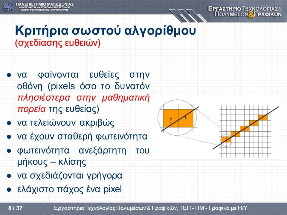 Κριτήρια σωστού αλγορίθμου (σχεδίασης ευθειών)
