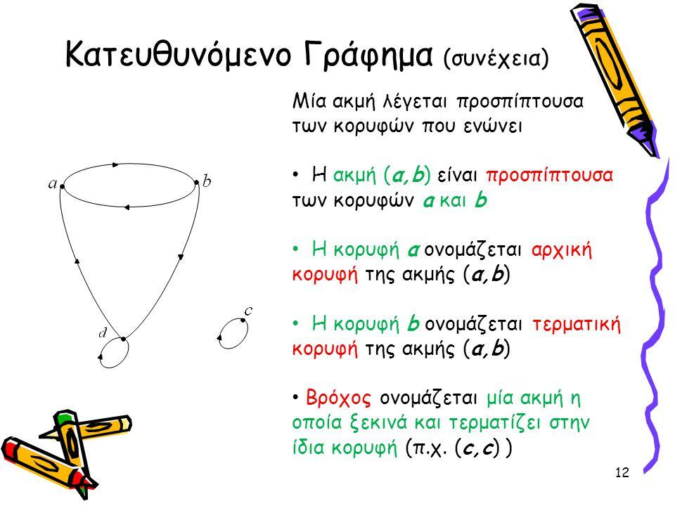 Κατευθυνόμενο Γράφημα (συνέχεια)