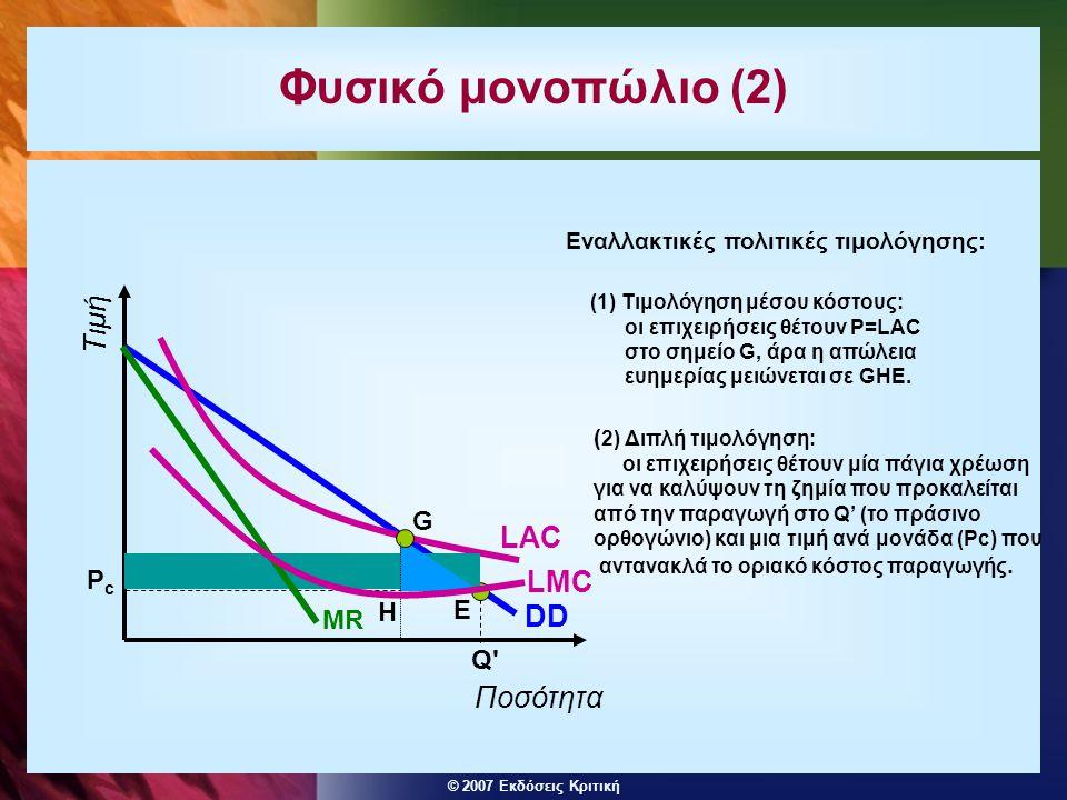 Φυσικό μονοπώλιο (2) Τιμή LAC LMC DD Ποσότητα G Pc H E MR Q