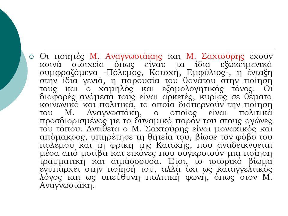 Οι ποιητές Μ. Αναγνωστάκης και Μ