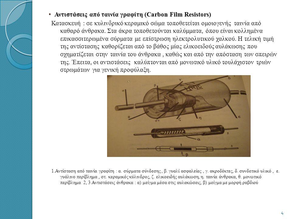 Αντιστάσεις από ταινία γραφίτη (Carbon Film Resistors)