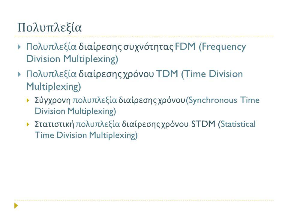 Πολυπλεξία Πολυπλεξία διαίρεσης συχνότητας FDM (Frequency Division Multiplexing) Πολυπλεξία διαίρεσης χρόνου TDM (Time Division Multiplexing)