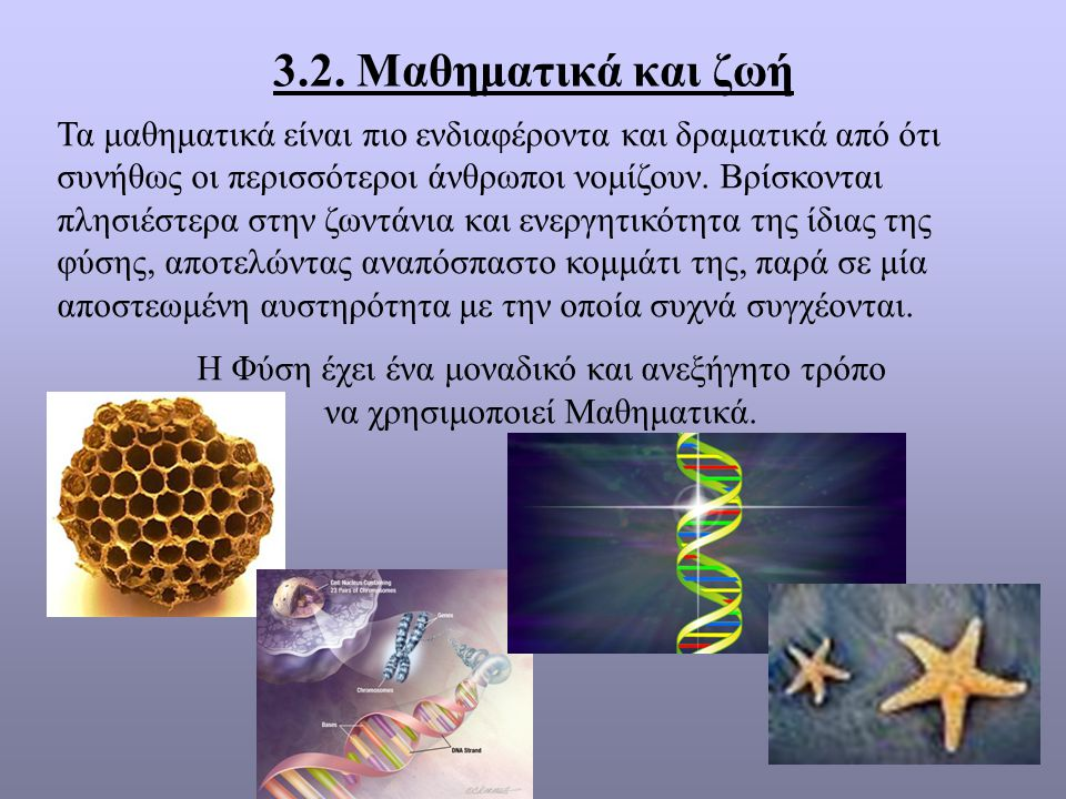 3.2. Μαθηματικά και ζωή