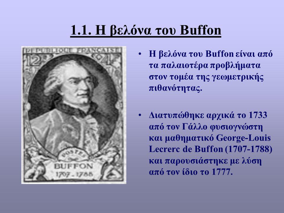 1.1. Η βελόνα του Βuffon Η βελόνα του Βuffon είναι από τα παλαιοτέρα προβλήματα στον τομέα της γεωμετρικής πιθανότητας.