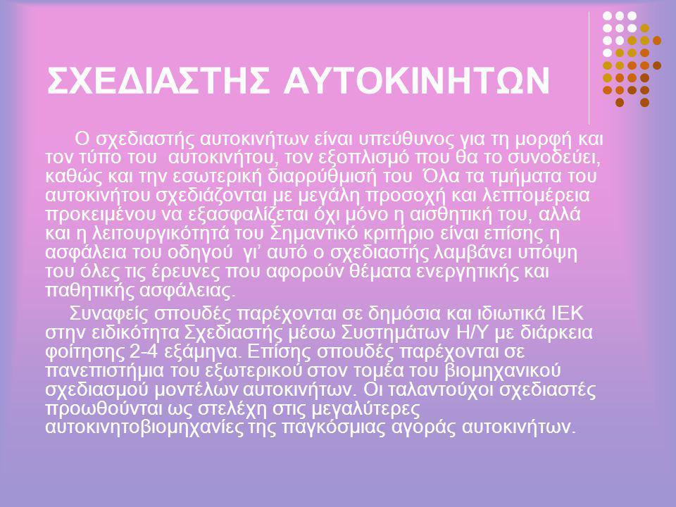 ΣΧΕΔΙΑΣΤΗΣ ΑΥΤΟΚΙΝΗΤΩΝ
