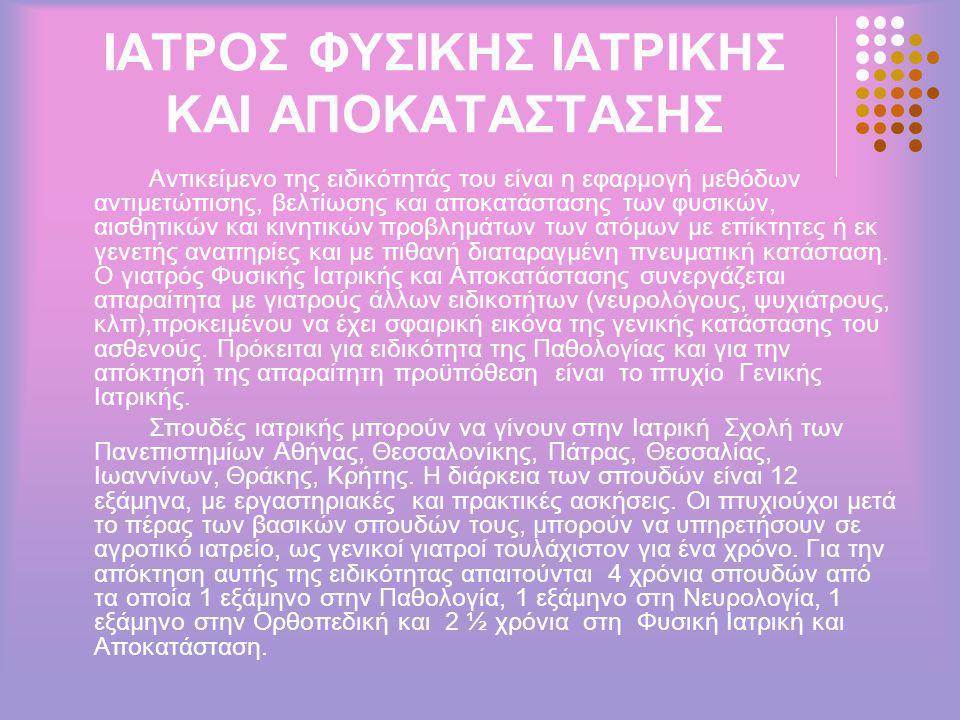 ΙΑΤΡΟΣ ΦΥΣΙΚΗΣ ΙΑΤΡΙΚΗΣ ΚΑΙ ΑΠΟΚΑΤΑΣΤΑΣΗΣ