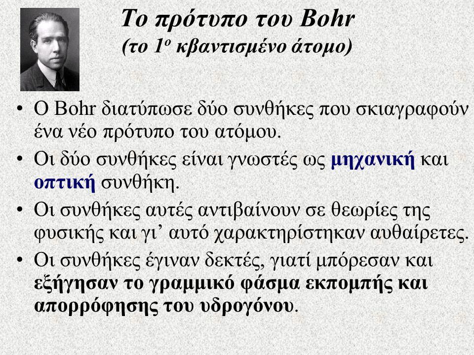 Το πρότυπο του Bohr (το 1ο κβαντισμένο άτομο)