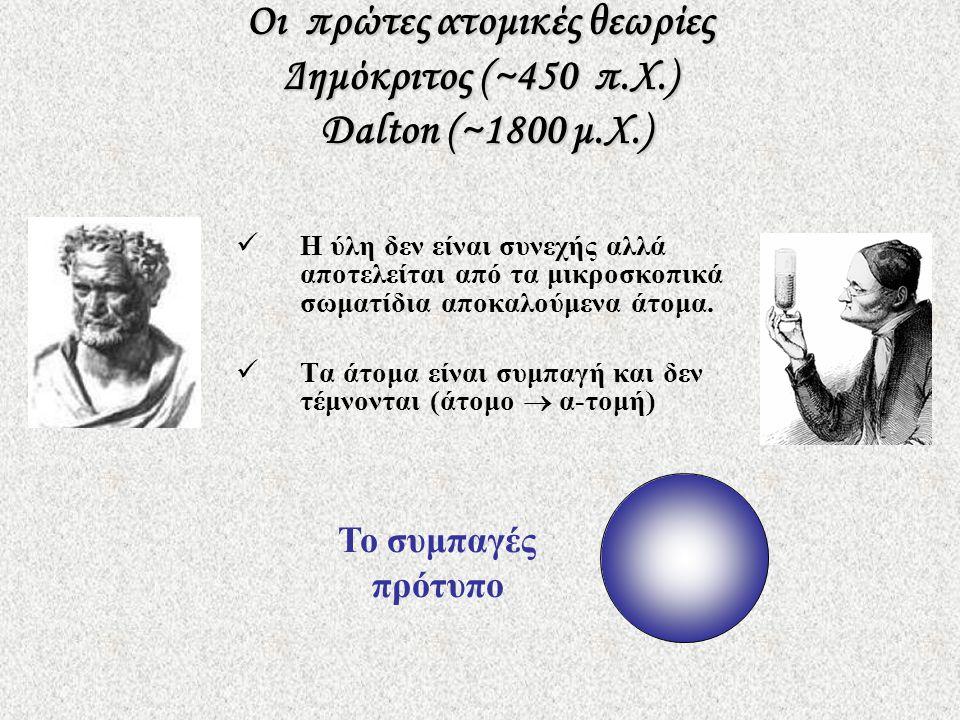Οι πρώτες ατομικές θεωρίες Δημόκριτος (~450 π.Χ.) Dalton (~1800 μ.Χ.)