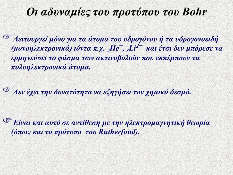 Οι αδυναμίες του προτύπου του Bohr
