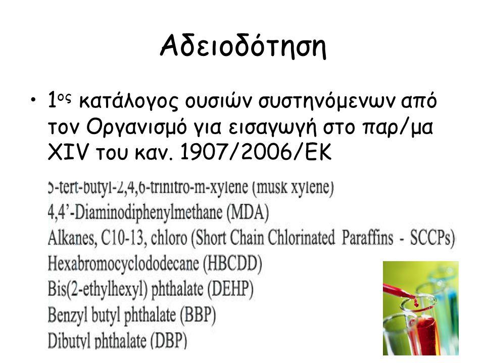 Αδειοδότηση 1ος κατάλογος ουσιών συστηνόμενων από τον Οργανισμό για εισαγωγή στο παρ/μα XIV του καν.