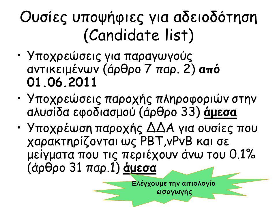 Ουσίες υποψήφιες για αδειοδότηση (Candidate list)