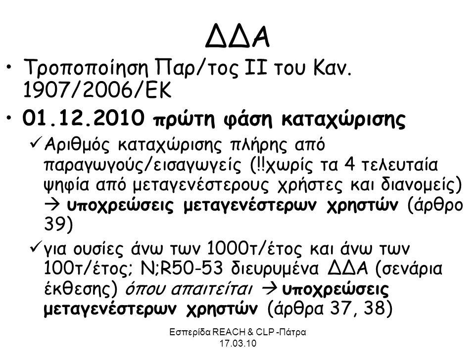 Εσπερίδα REACH & CLP -Πάτρα 17.03.10