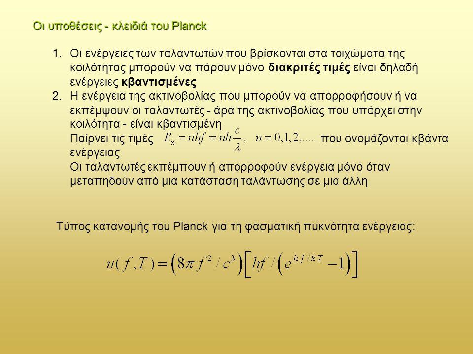 Οι υποθέσεις - κλειδιά του Planck