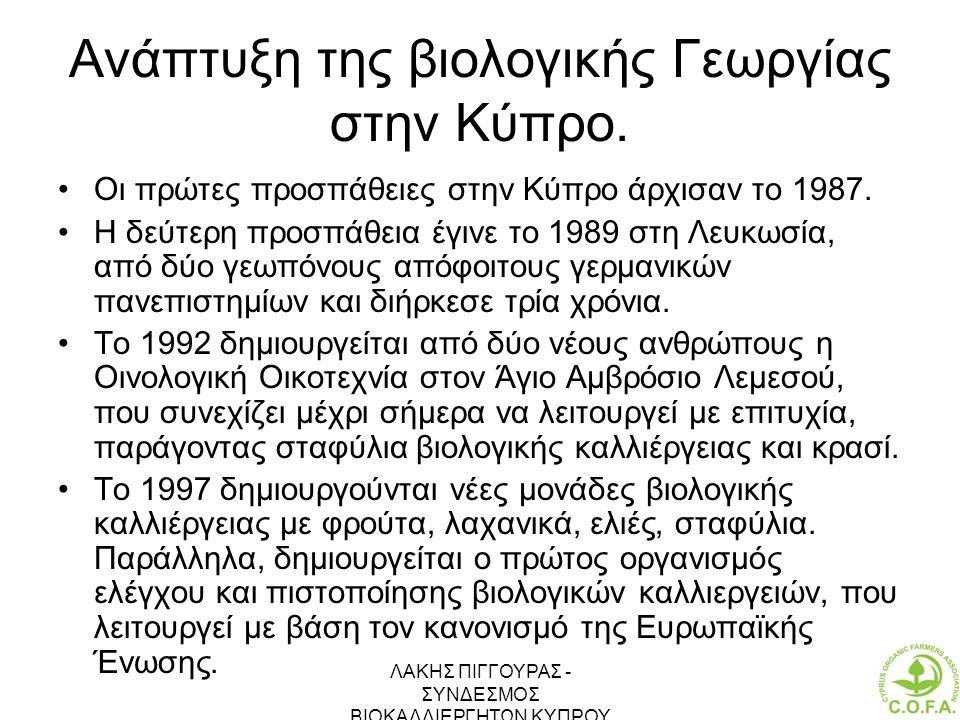 Ανάπτυξη της βιολογικής Γεωργίας στην Κύπρο.