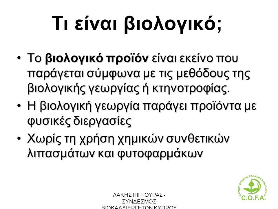 ΛΑΚΗΣ ΠΙΓΓΟΥΡΑΣ - ΣΥΝΔΕΣΜΟΣ ΒΙΟΚΑΛΛΙΕΡΓΗΤΩΝ ΚΥΠΡΟΥ