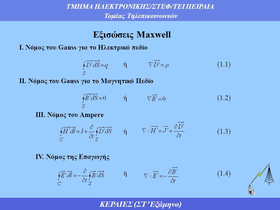 Εξισώσεις Maxwell Ι. Νόμος του Gauss για το Ηλεκτρικό πεδίο ή (1.1)