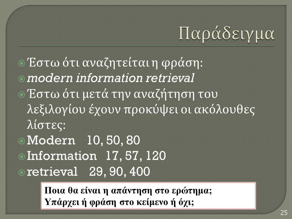 Παράδειγμα Έστω ότι αναζητείται η φράση: modern information retrieval