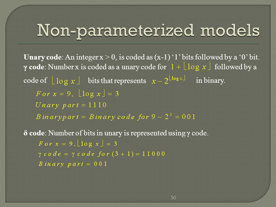 Non-parameterized models
