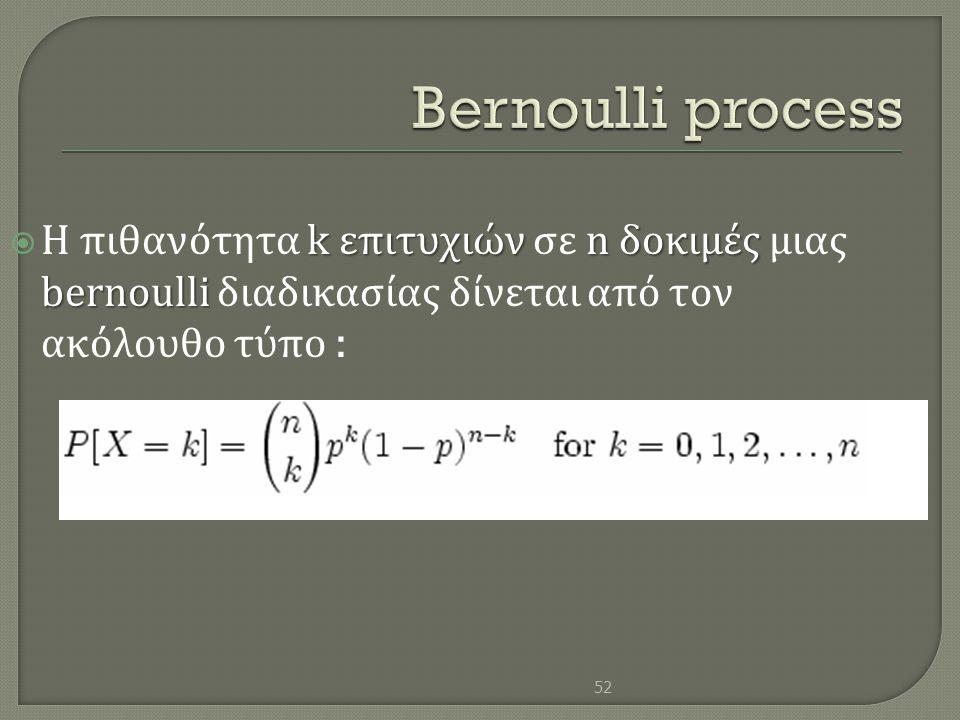 Bernoulli process Η πιθανότητα k επιτυχιών σε n δοκιμές μιας bernoulli διαδικασίας δίνεται από τον ακόλουθο τύπο :