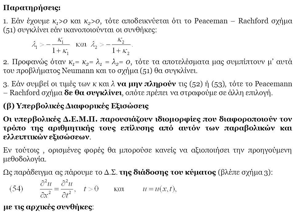 Παρατηρήσεις: 1. Εάν έχουμε κ1>0 και κ2>0, τότε αποδεικνύεται ότι το Peaceman – Rachford σχήμα (51) συγκλίνει εάν ικανοποιούνται οι συνθήκες: