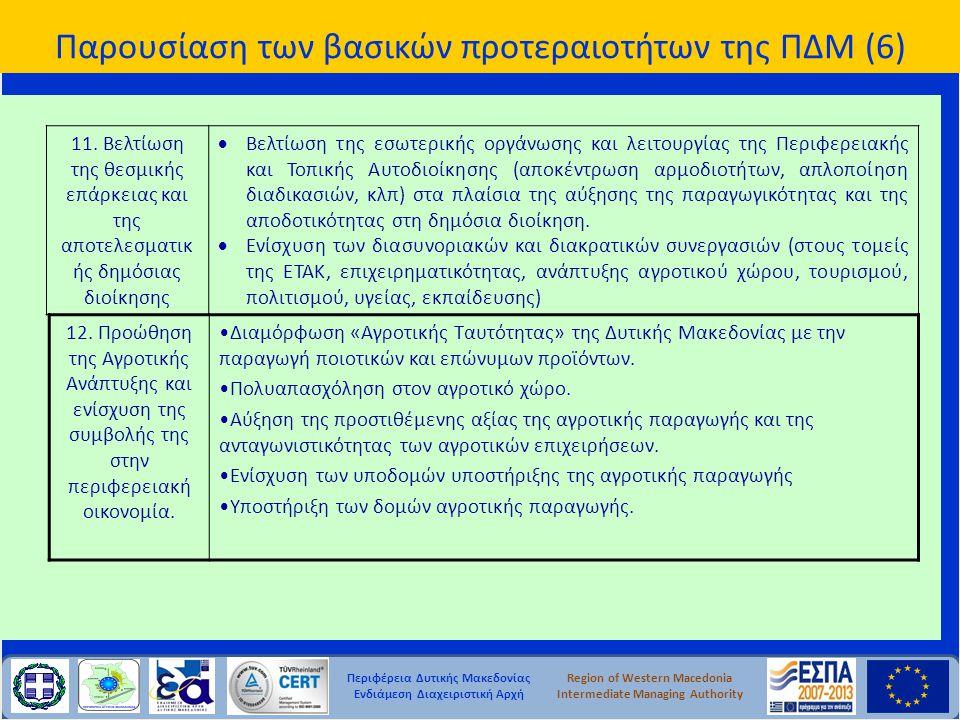 Παρουσίαση των βασικών προτεραιοτήτων της ΠΔΜ (6)