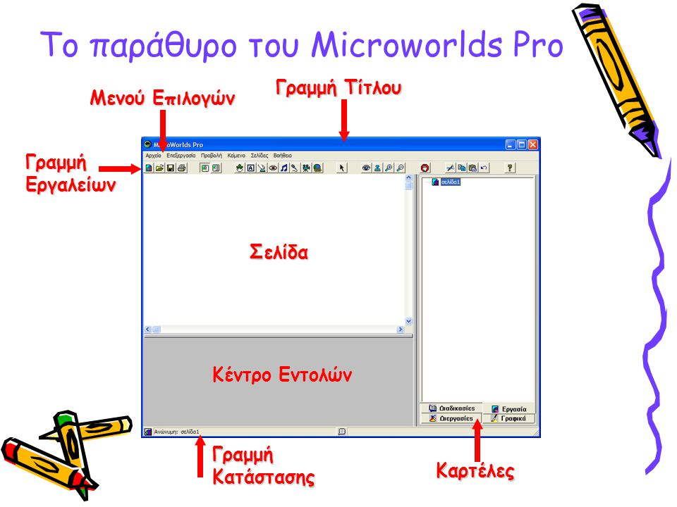 To παράθυρο του Microworlds Pro