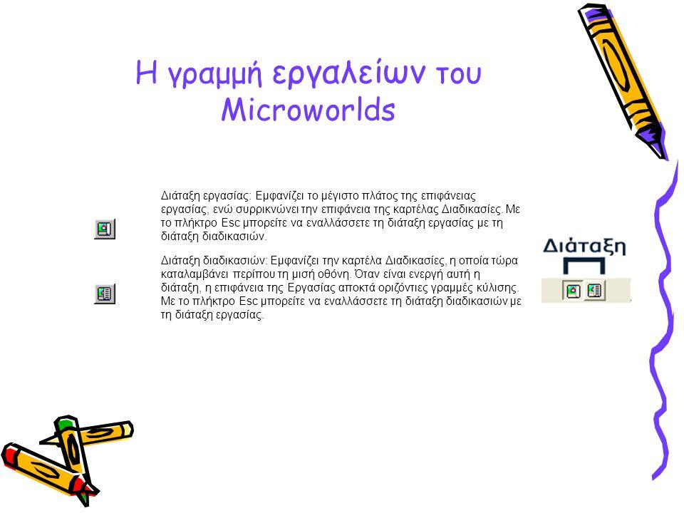 Η γραμμή εργαλείων του Microworlds